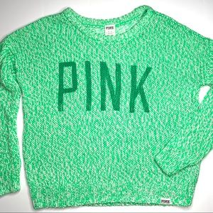 PINK VS Green Loose Knit Cozy Slouchy Sweater M